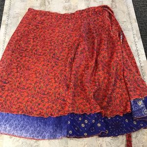 bohemian wrap around layered skirt waist size 34